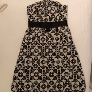 Lilly Pulitzer Black and Cream Strapless Dress